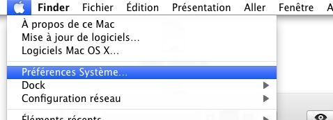 Menu Préférences Système Mac OS