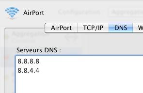 Google Public DNS sur Mac OS - AirPort
