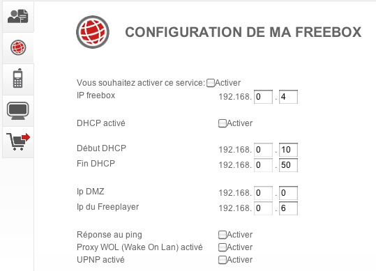 Configuration de ma Freebox