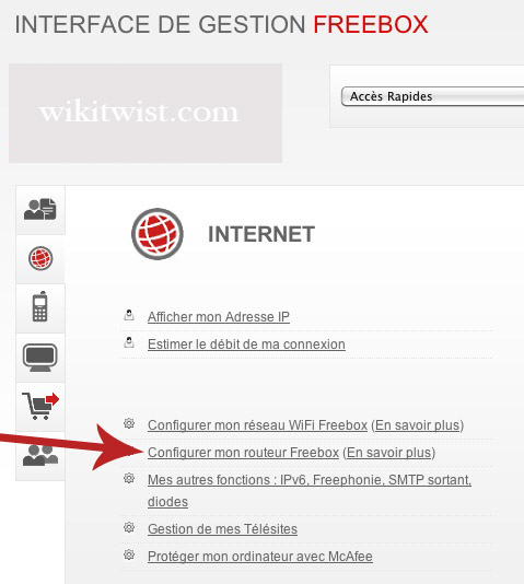 Interface Gestion Freebox