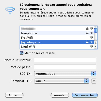 Fenêtre Selection Réseau 802.1x