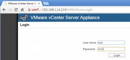 vmware vcenter appliance login