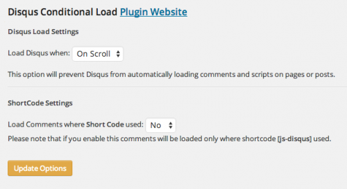 Disqus Conditional Load - options