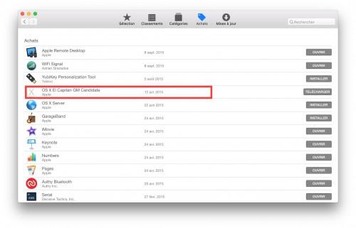 App Store- achat Mac OS X El Capitan