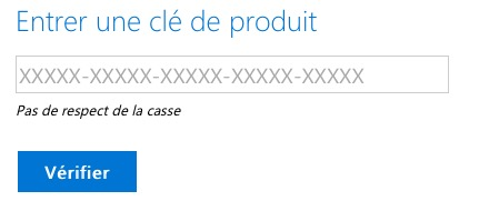 téléchargement ISO Windows - entrée du serial